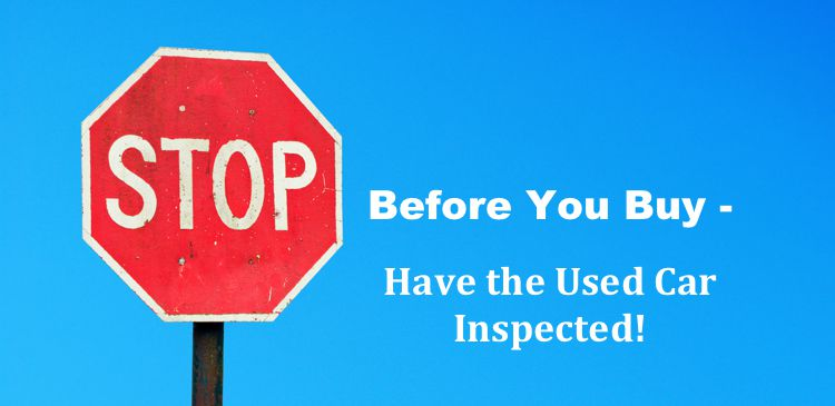 Inspect Used Car sign